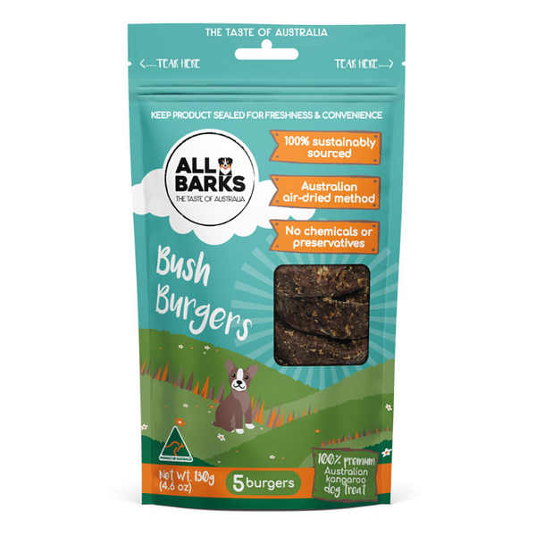 All Barks Bush Burgers Dog Treats | Peticular