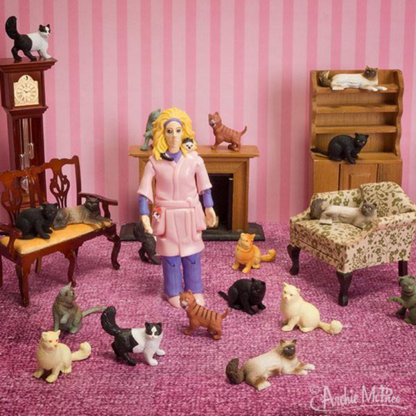 Archie McPhee Crazy Cat Lady Action Figure | Peticular