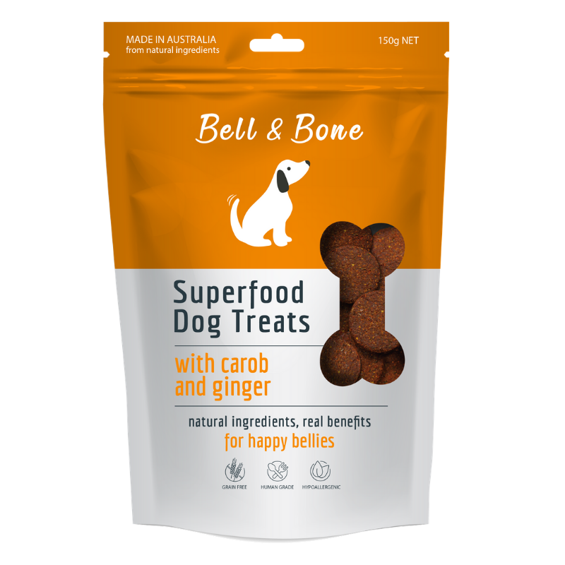 Bell & Bone Superfood Dog Treats | Carob & Ginger | Peticular