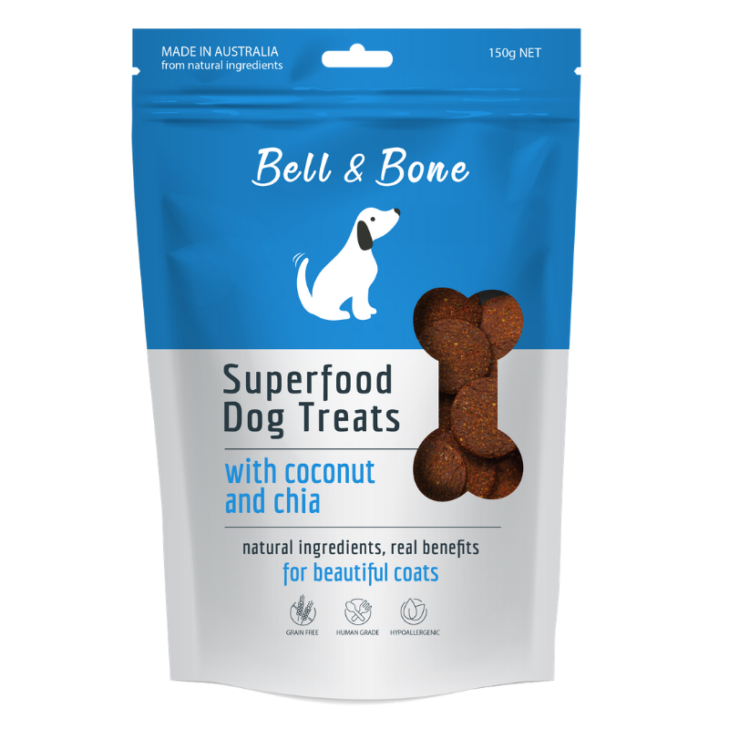 Bell & Bone Superfood Dog Treats | Coconut & Chia | Peticular