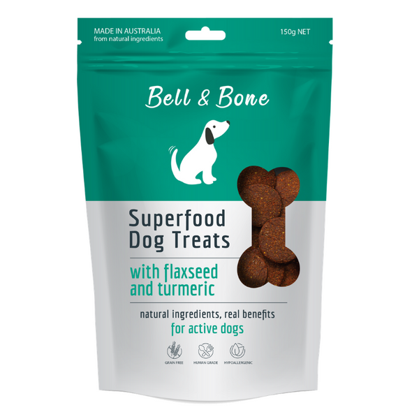 Bell & Bone Superfood Dog Treats | Flaxseed & Turmeric | Peticular