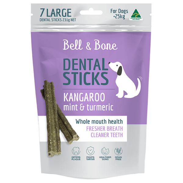 Bell & Bone Kangaroo, Mint and Turmeric Dental Sticks | Peticular