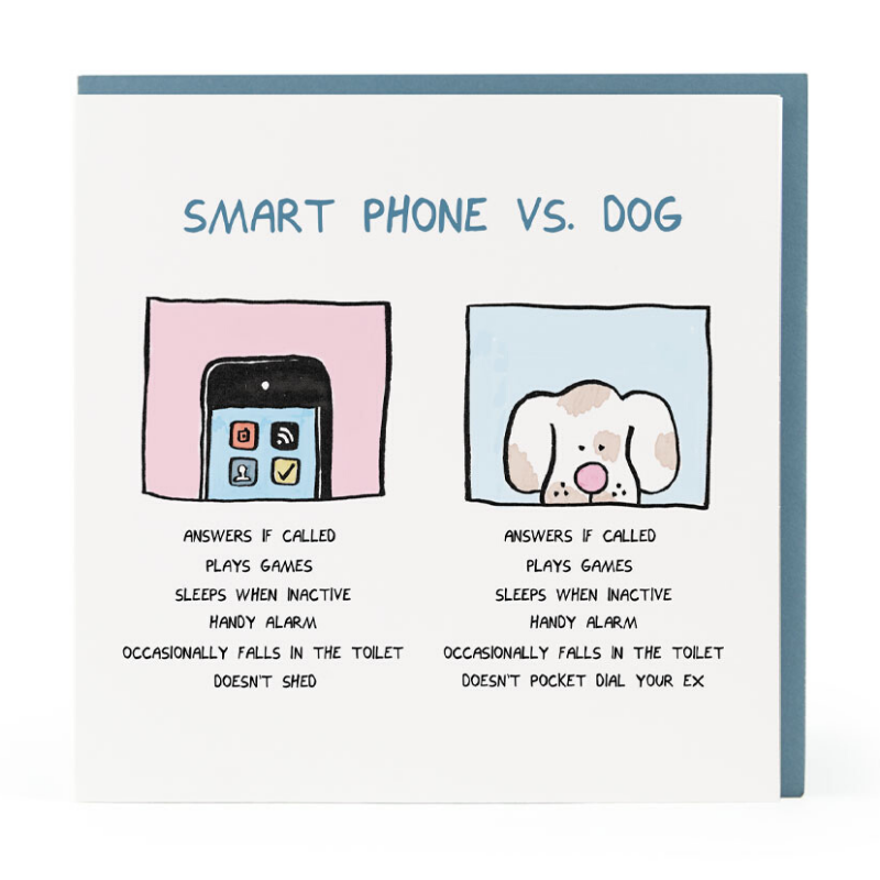 Curated Blank Card | Smart Phone Vs Dog | Peticular