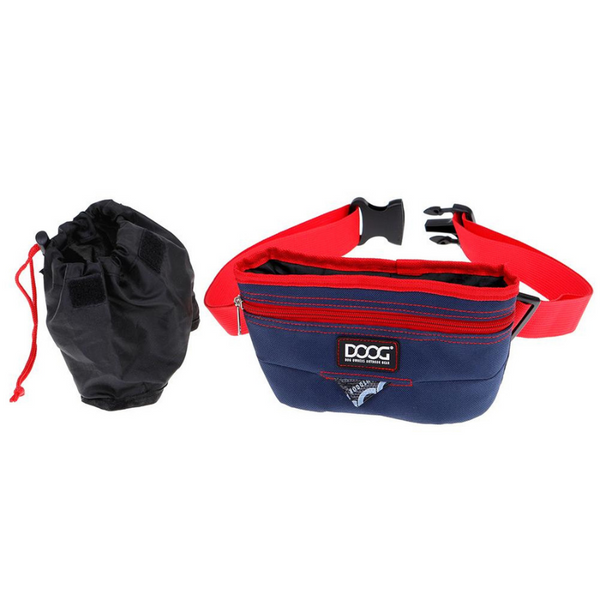 Large Good Dog Treat Pouch | Navy & Red