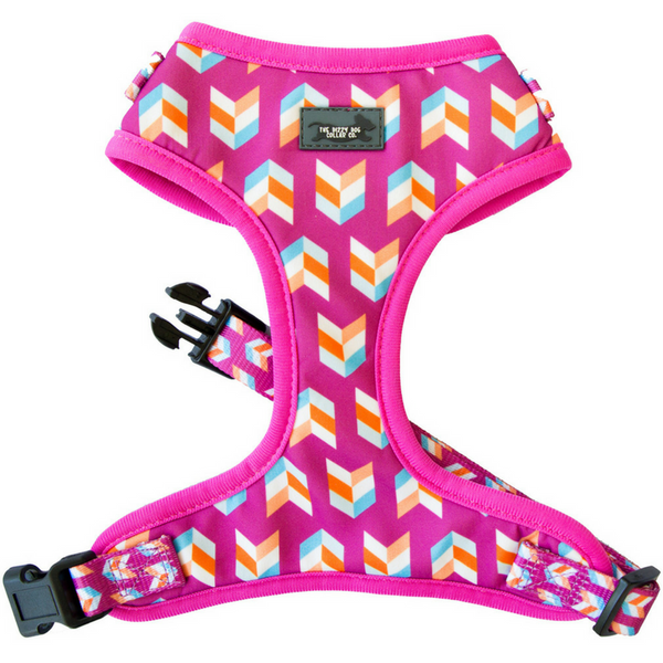 Pink Herringbone Adjustable Harness