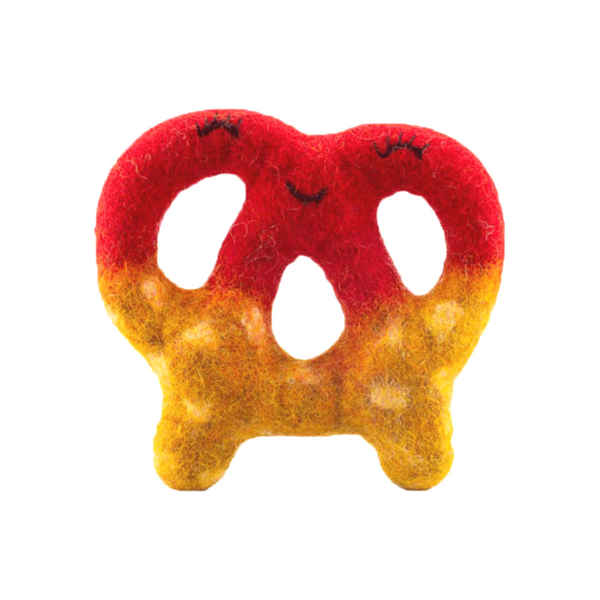 Dipped Pretzel Wool Dog Toy | Raspberry