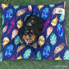 Indie Boho Cushion Pet Bed | Indigo Feather Scatter | Peticular