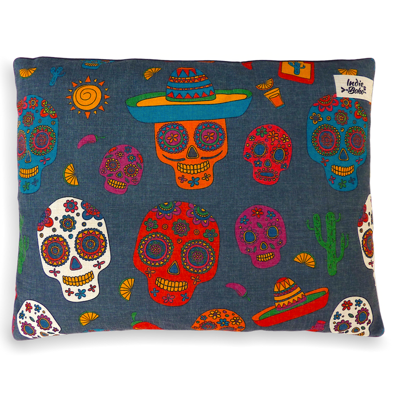 Indie Boho Cushion Pet Bed | Mexican Skulls | Peticular