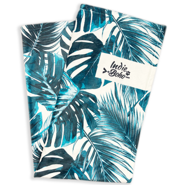 Indie Boho Designer Pet Blanket | Tropical Leaves | Peticular