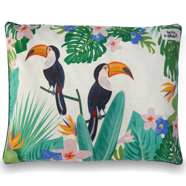 Indie Boho Cushion Pet Bed | Flamingo Toucan Paradise | Peticular