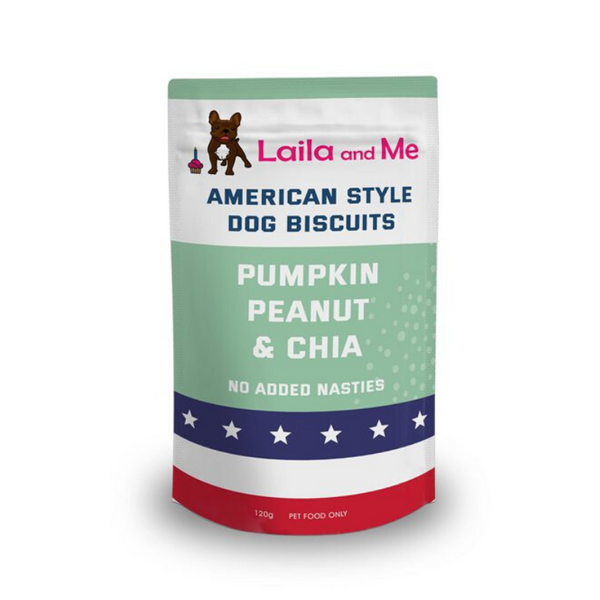 Laila and Me Pumpkin, Peanut Butter & Chia Doggie Biccies | Peticular