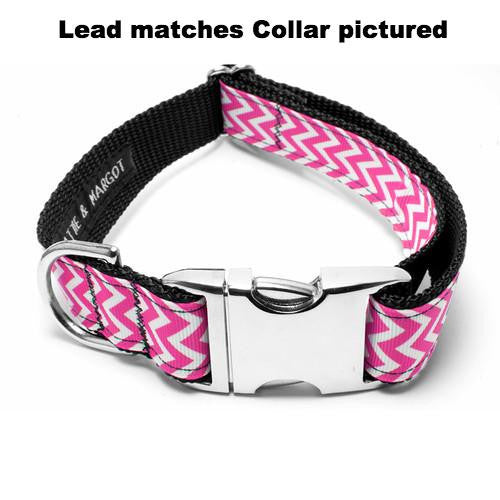 MATTIE + MARGOT Pink Chevron Stripe Dog Lead | Peticular