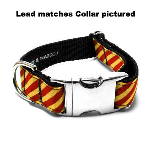 MATTIE + MARGOT Red/Yellow Gold Stripe Dog Lead | Peticular