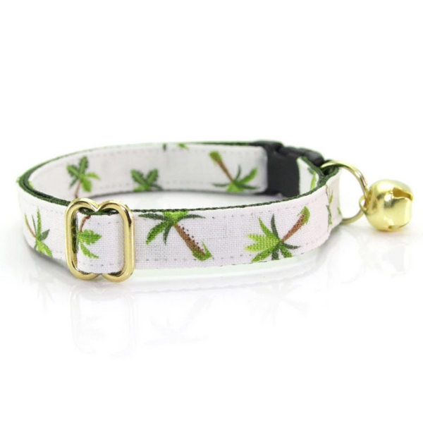 Made by Cleo Ivory Palm Trees Cat Collar | Peticular