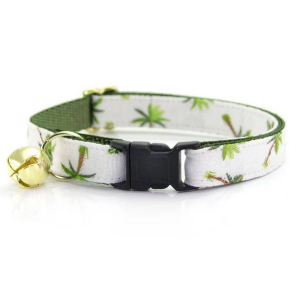 Ivory Palm Trees Cat Collar