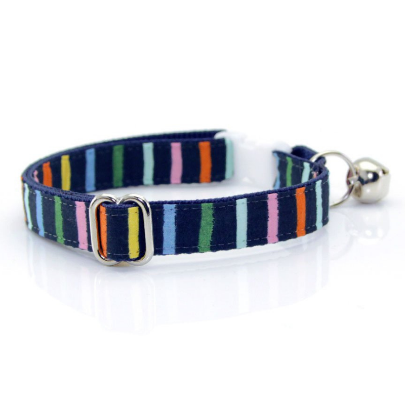 Navy Rainbow Stripe Cat Collar