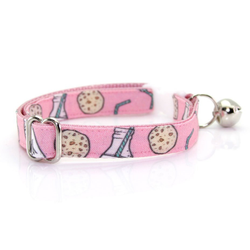 Made by Cleo Pink Cookies & Milk Cat Collar | Peticular