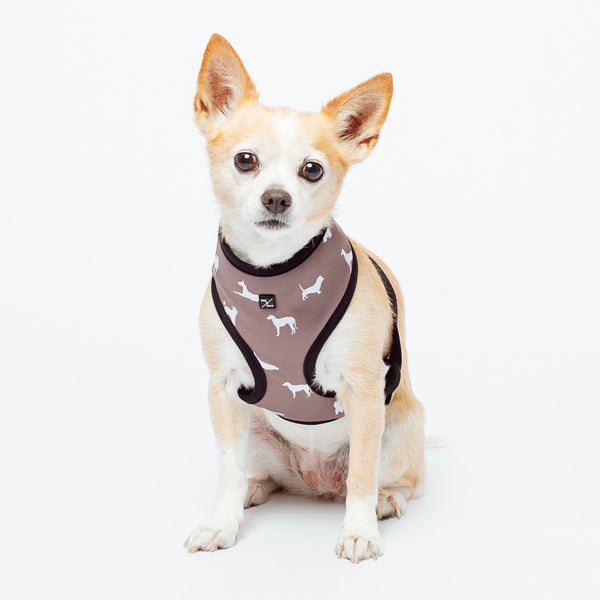 Mog & Bone Neoprene Harness | Mocca Dog Print | Peticular