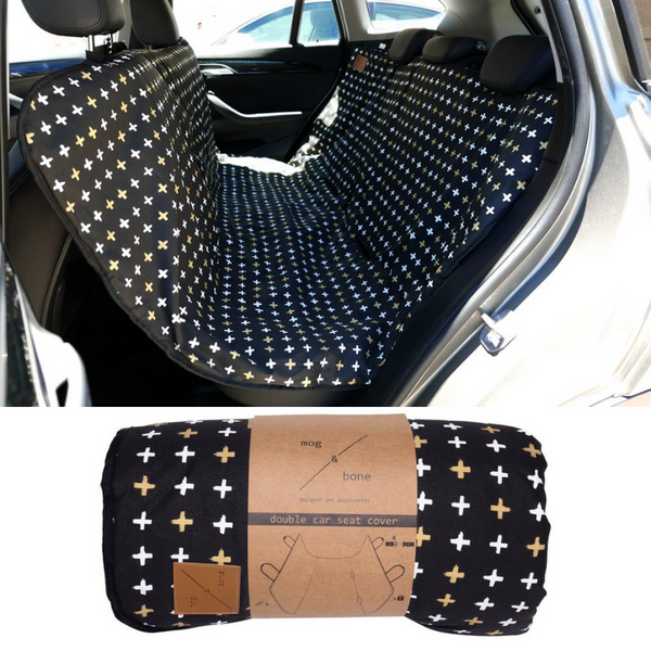 Car Seat Cover | Black Metallic Cross