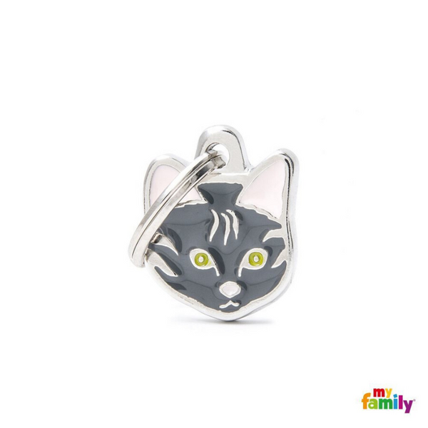 My Family Pet ID Tag | Grey European Shorthair Cat + FREE Engraving | Peticular