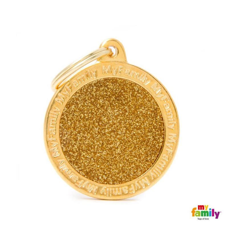 My Family Pet ID Tag | Shine Circle Glitter + FREE Engraving | Peticular