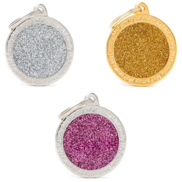 Pet ID Tag | Shine Circle Glitter + FREE Engraving