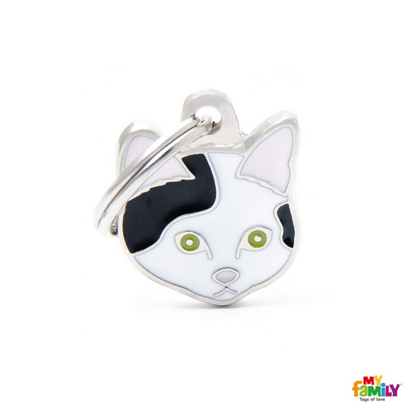 My Family Pet ID Tag | White & Black European Shorthair Cat + FREE Engraving | Peticular