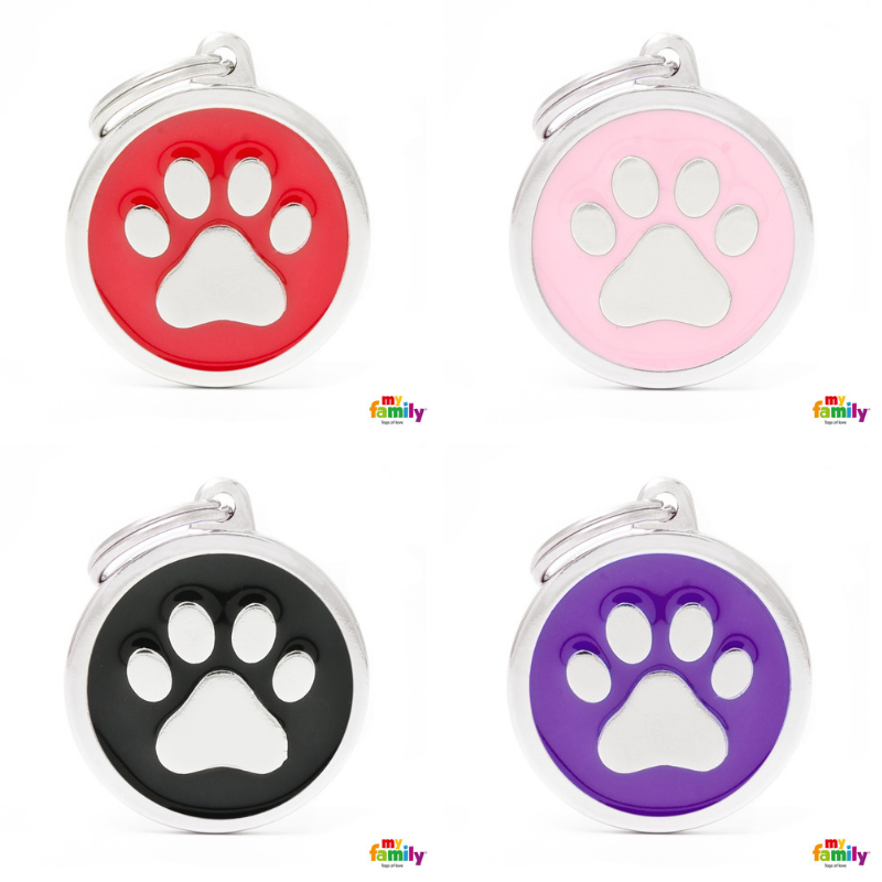 My Family Pet ID Tag | Classic Circle Paw + FREE Engraving | Peticular