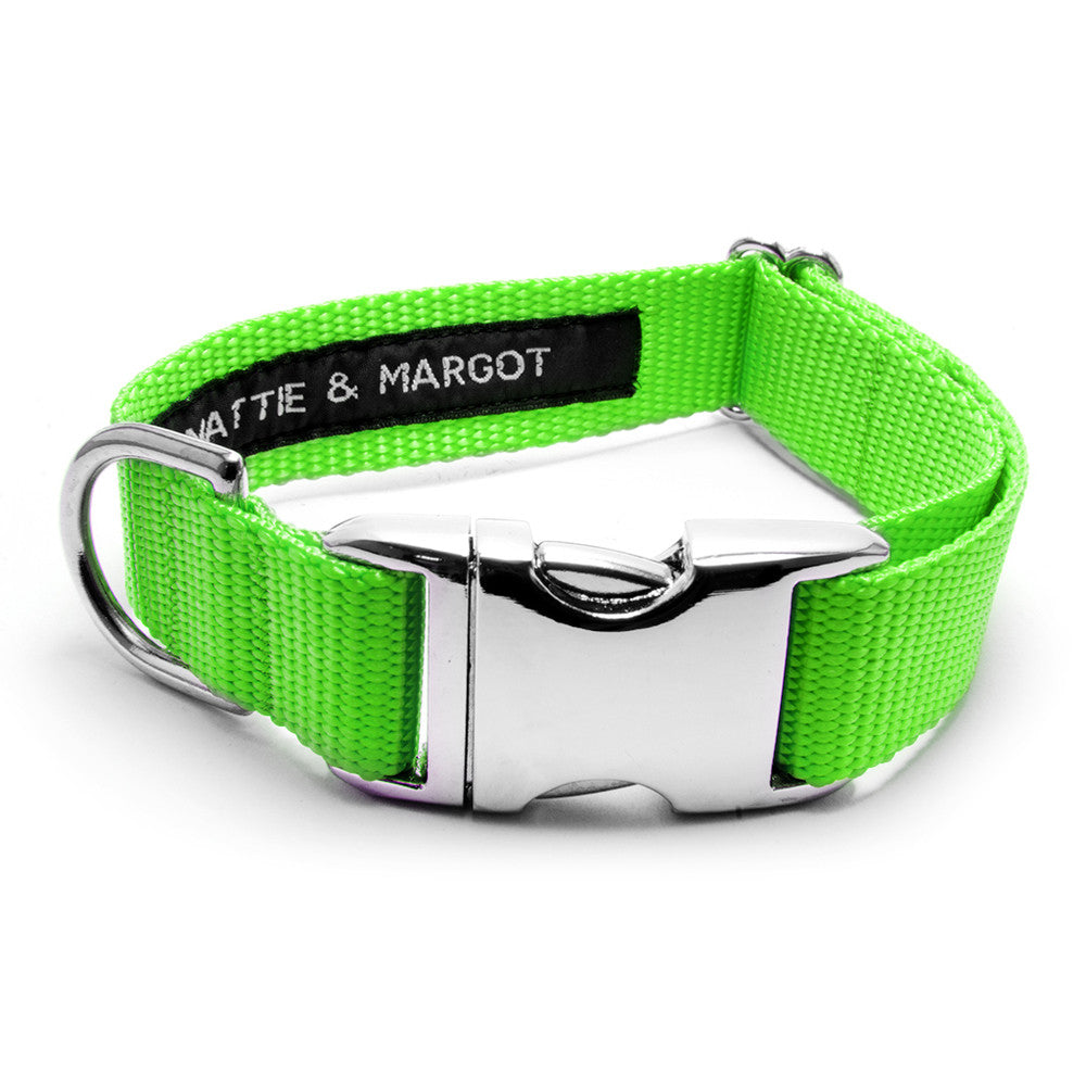 MATTIE + MARGOT Neon Green Stripped Dog Collar | Peticular