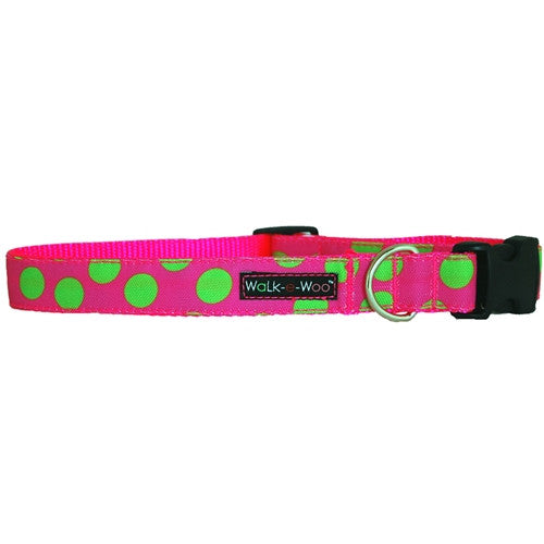 Walk-e-Woo Polka Dot Collar | Neon Green on Pink | Peticular