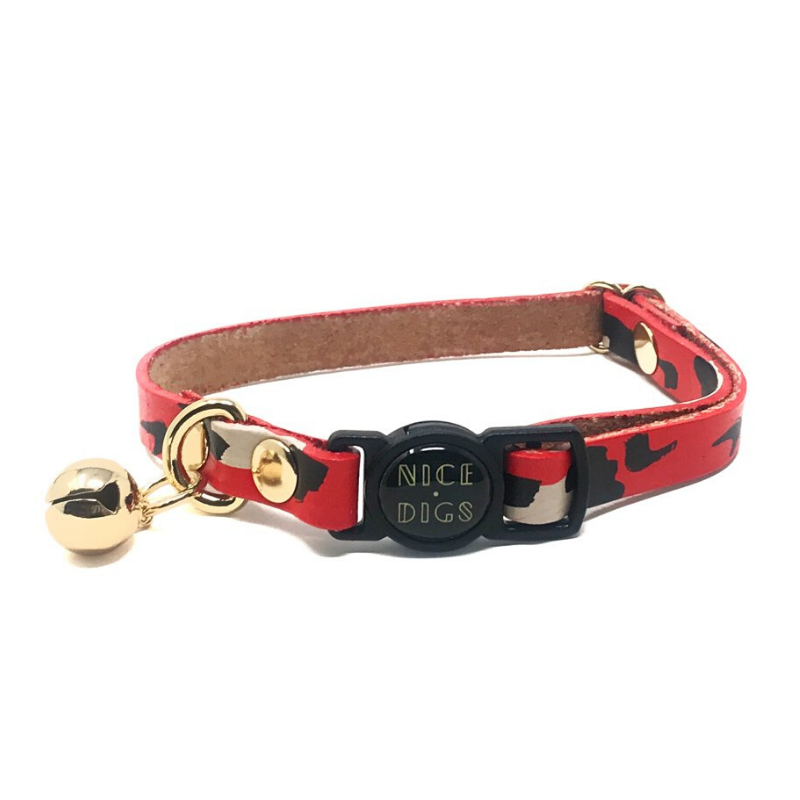 NICE DIGS Animal Leather Cat Collar | Red | Peticular