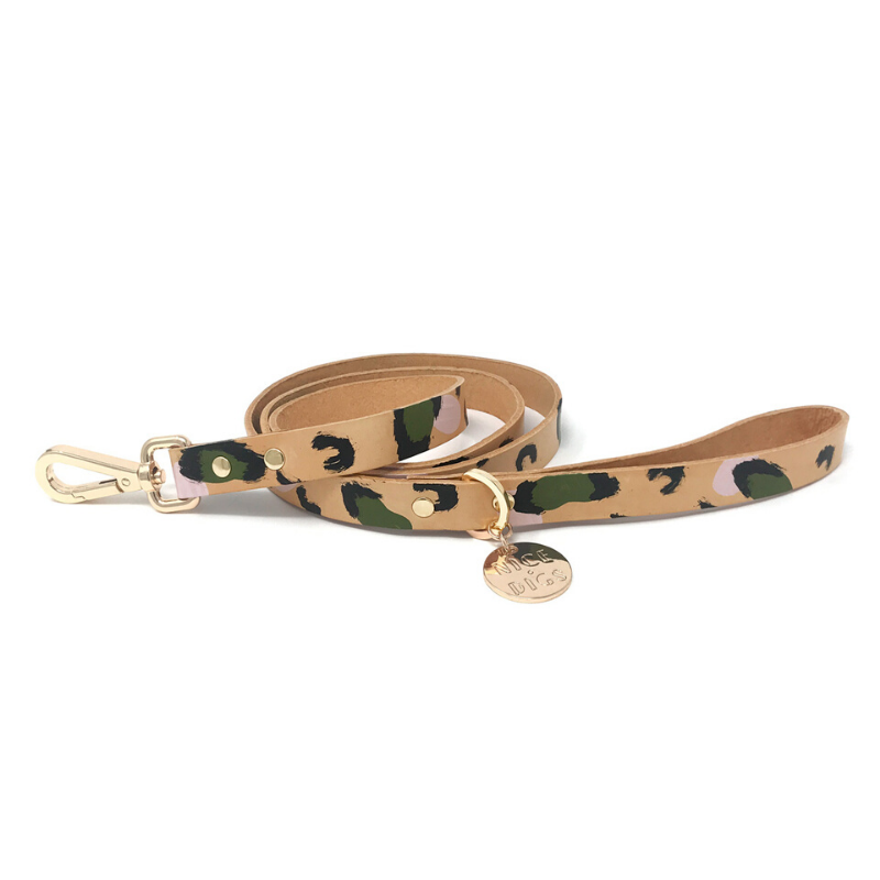NICE DIGS Animal Leather Dog Leash | Evergreen | Peticular
