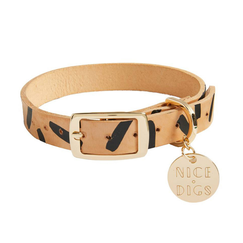 NICE DIGS Tiggy Leather Dog Collar | Black | Peticular