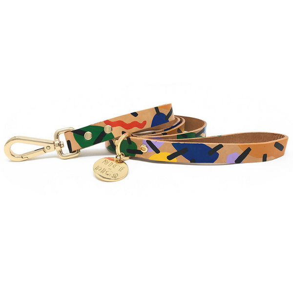 NICE DIGS Block Party Leather Dog Leash | Peticular