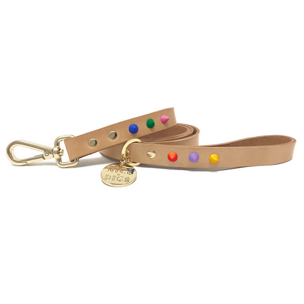 NICE DIGS Smooth Spike Leather Dog Leash | Memphis Tan | Peticular