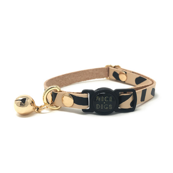 NICE DIGS Tiggy Leather Cat Collar | Black | Peticular
