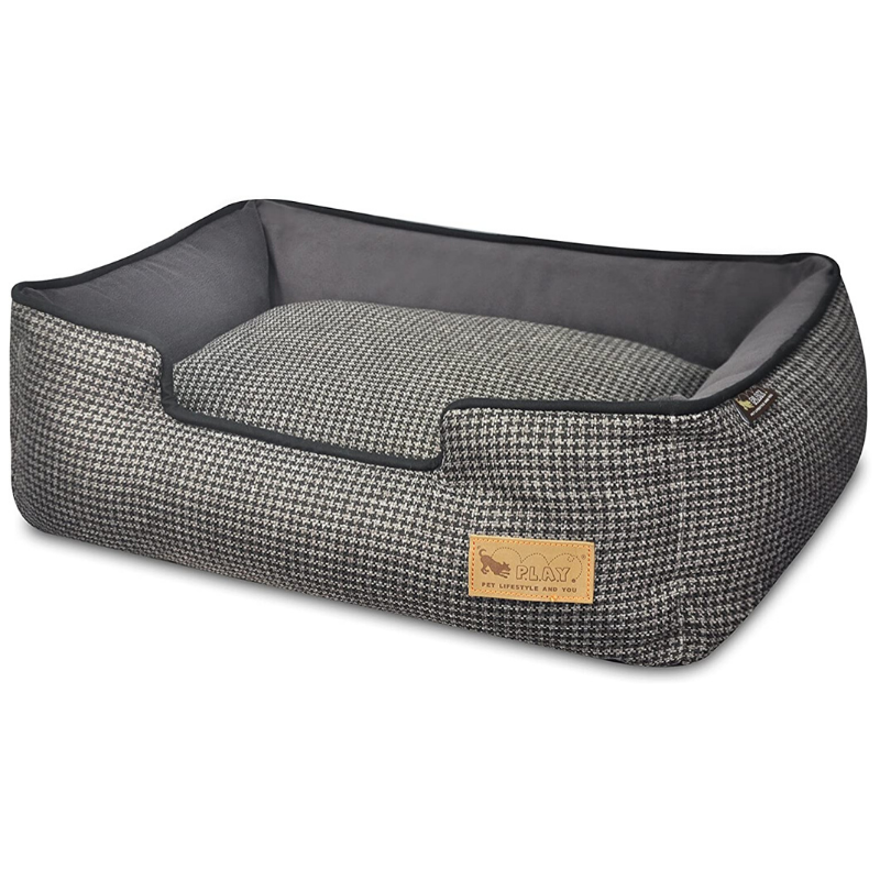 P.L.A.Y Houndstooth Lounge Pet Bed | Shadow Grey | Peticular