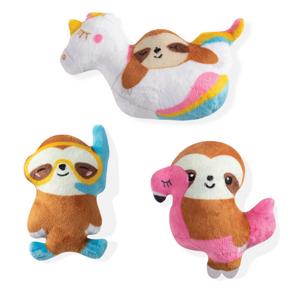 Summer Sloths Mini Dog Toys