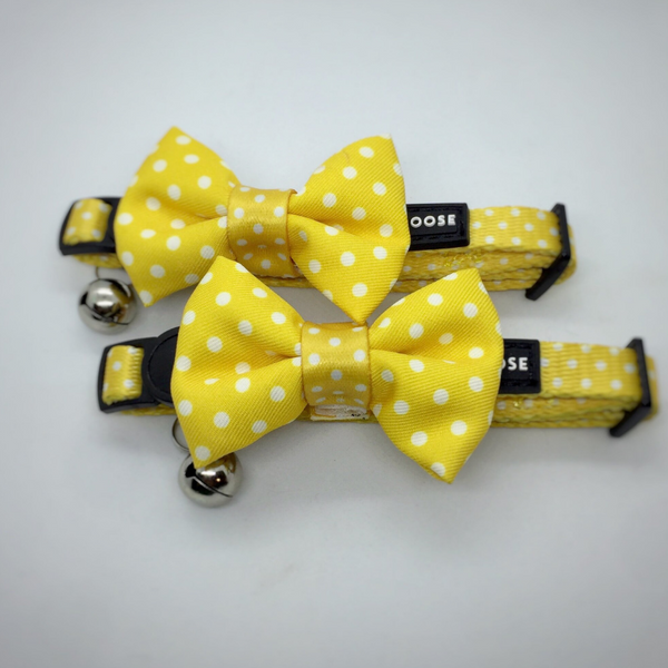 Polka Dots Cat Collar | Lemon Yellow