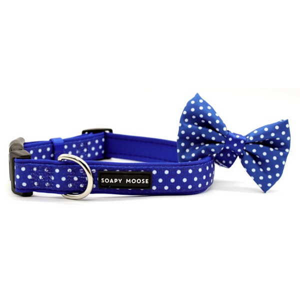 Soapy Moose Blue & White Polka Dots Collar | Peticular