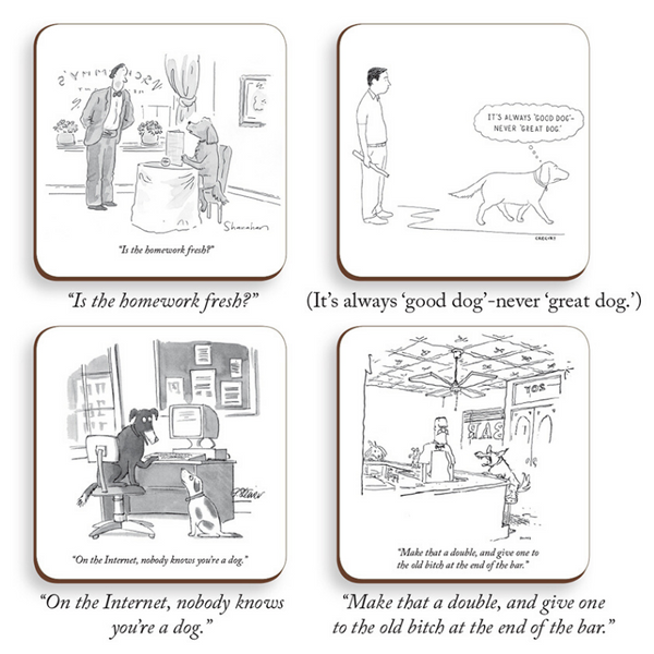 Bobangles The New Yorker Drink Coasters | Dogs | Peticular