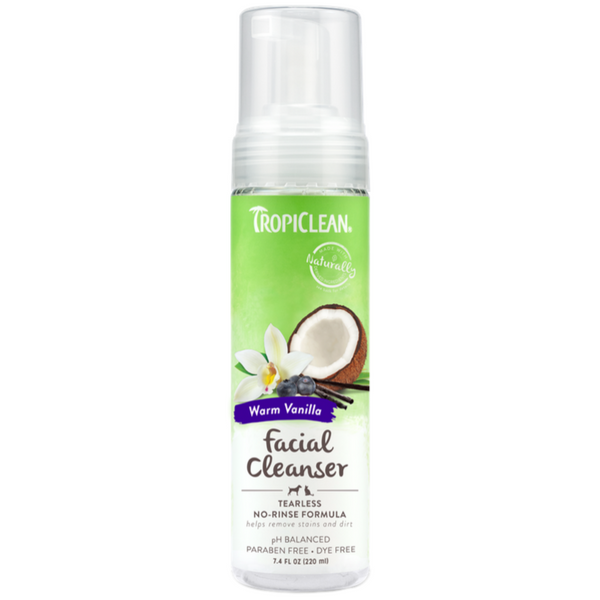 TropiClean Waterless Dog Facial Cleanser | Blueberry & Coconut | Peticular