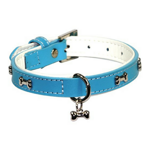 Dogue Bones Leather Dog Collar | Blue | Peticular