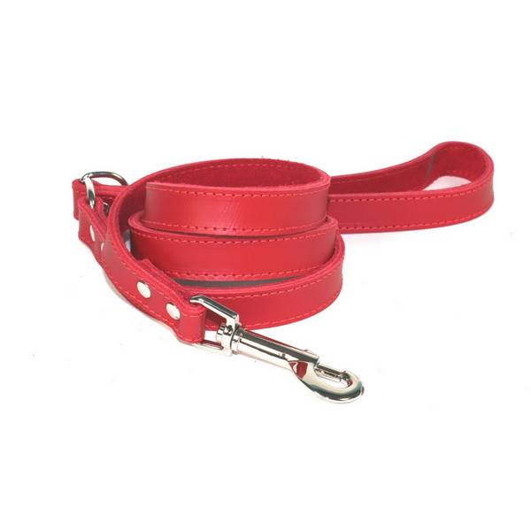 Dogue Plain Jane Leather Dog Lead | Red | Peticular