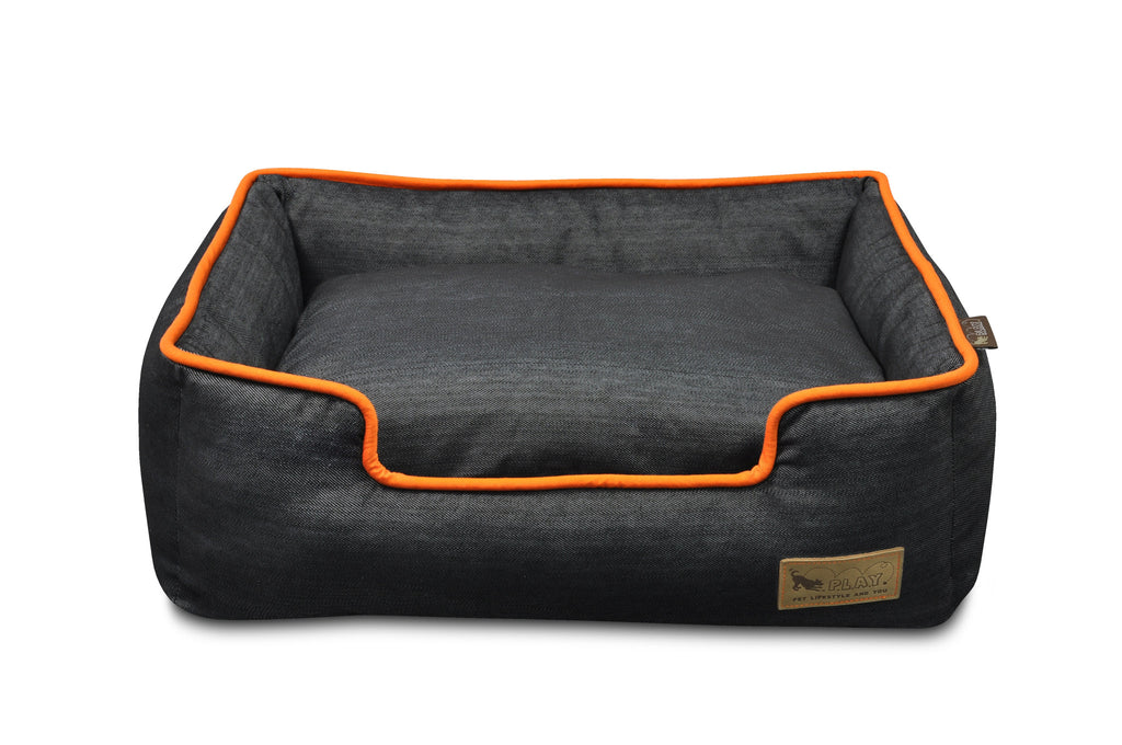 P.L.A.Y Urban Denim Lounge Pet Bed | Mandarin | Peticular