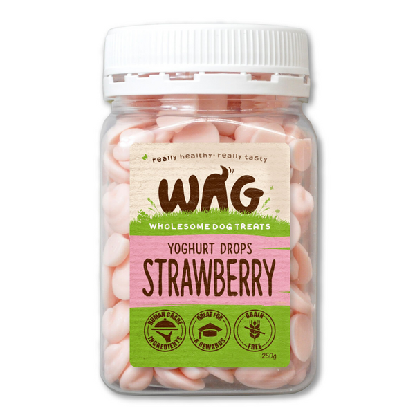 WAG Yoghurt Drops Dog Treats | Strawberry | Peticular