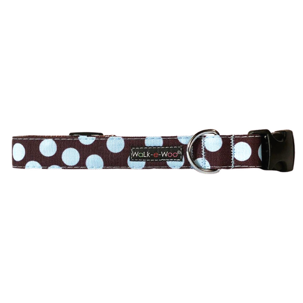 Polka Dot Collar | Blue on Brown - Peticular