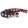 Walk-e-Woo Polka Dot Lead | Purple on Brown | Peticular