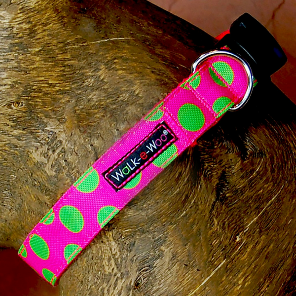 Polka Dot Collar | Neon Green on Pink - Peticular