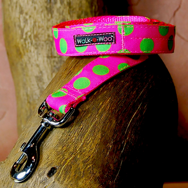 Polka Dot Lead | Neon Green on Pink